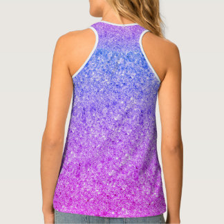 Gradient Pink And Blue Glitter Tank Top