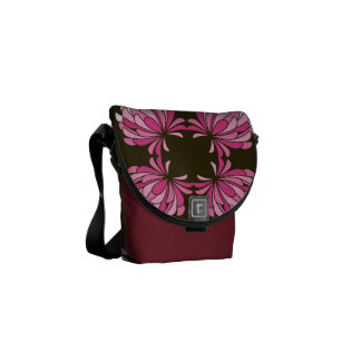 Gradient Pink Clover Flower on Brown Bag Messenger Bags