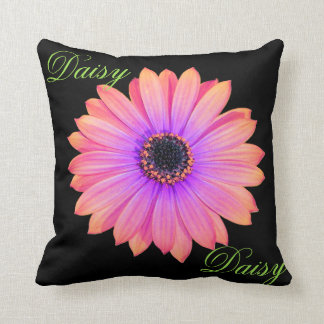 Gradient Pink Daisy Throw Pillow