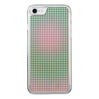 Gradient pink teal turquoise polka dots pattern carved iPhone 8/7 case