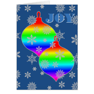 Gradient Rainbow flag ornaments JOY Greeting Card