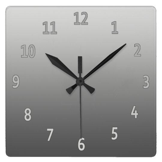 Gradient Simple Grey Square Wall Clock
