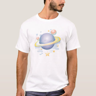 Gradient Style Saturn and Stars T-Shirt