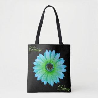 Gradient Teal Daisy Tote