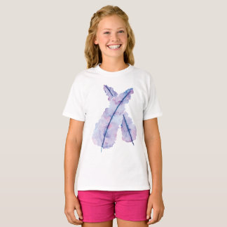 Gradient Watercolor Feathers on Kids T-shirt