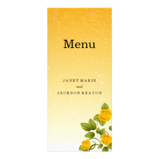 Gradient Yellow Floral Wedding Menu