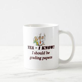 grading papers. coffee mug