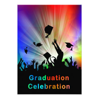 Grads Throwing Caps in Air Laser Lights Graduation Personalized Invite