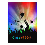 Grads Throwing Caps Laser Lights Class of 2014 Personalised Invitation