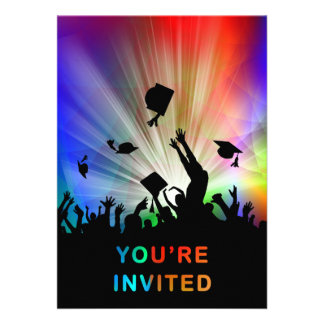 Grads Throwing Caps Laser Lights You re Invited Invite