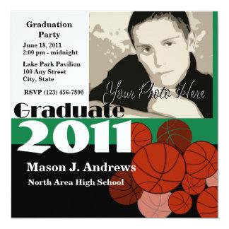 Graduate 2011/ Basketball 13 Cm X 13 Cm Square Invitation Card