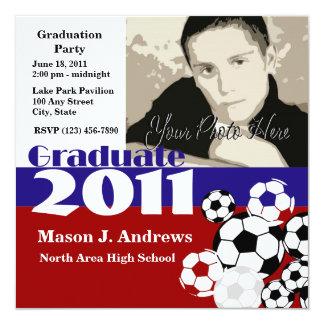 """Graduate 2011/ Soccer 5.25"""" Square Invitation Card"""