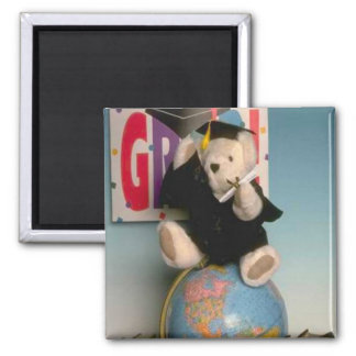 Graduate bear, tell your friends he made it! square magnet
