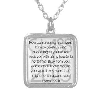 Graduate bible verse Psalm 119:9-11 Square Pendant Necklace