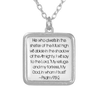 Graduate bible verse Psalm 91:1-2 Silver Plated Necklace