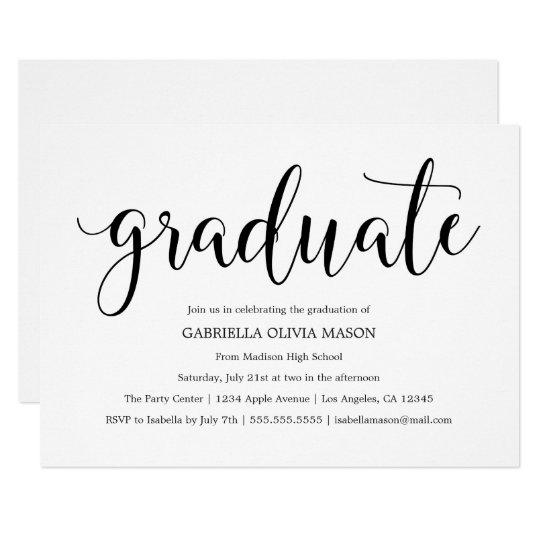 Graduate | Black Script Graduation Party Invite