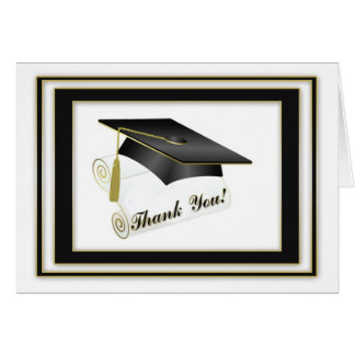 Graduate Black Thank You Card