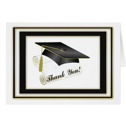 Graduate Black Thank You Card