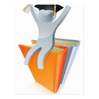 Graduate books silver person postcard