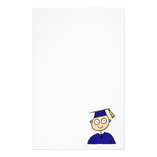Graduate Boy Cute Blue Custom Stationery