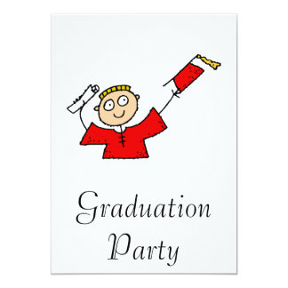 Graduate Boy Cute Red 13 Cm X 18 Cm Invitation Card