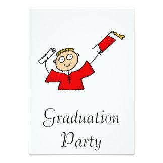 Graduate Boy Cute Red 13 Cm X 18 Cm Invitation Card