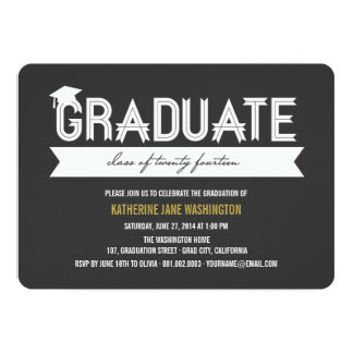 Graduate Class Of 2014 Simple Ribbon Party Invite