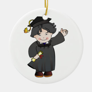 Graduate Class of Boy Black Robes Asian Round Ceramic Decoration