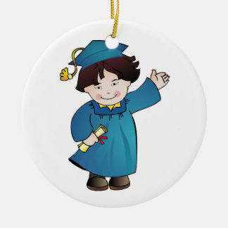 Graduate Class of Boy Blue Robes Asian Round Ceramic Decoration