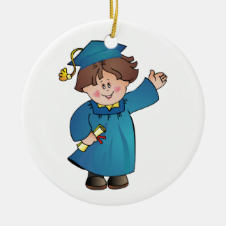 Graduate Class of Boy Blue Robes Brunette Round Ceramic Decoration