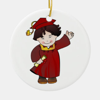 Graduate Class of Boy Red Robes Asian Round Ceramic Decoration