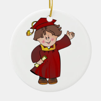 Graduate Class of Boy Red Robes Brunette Round Ceramic Decoration