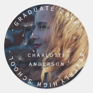 Graduate Class Of Name Custom Photo Dandelion Classic Round Sticker