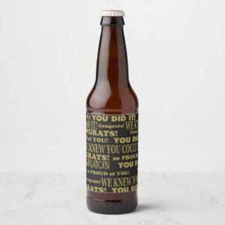 Graduate Congrats Black and Gold Beer Bottle Label