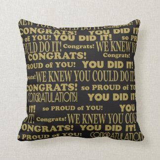 Graduate Congrats Black and Gold Cushion