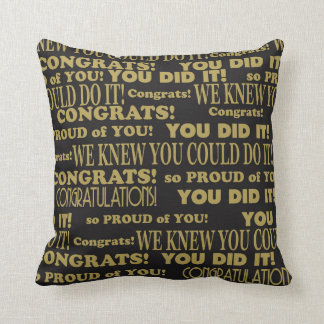 Graduate Congrats Black and Gold Throw Pillow