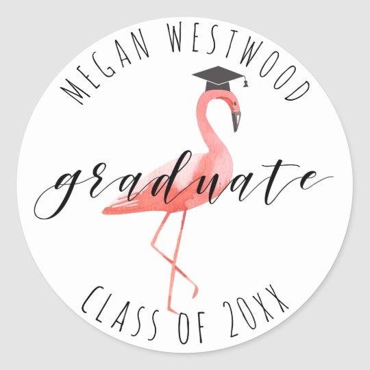 Graduate custom sticker funny flamingo tropical