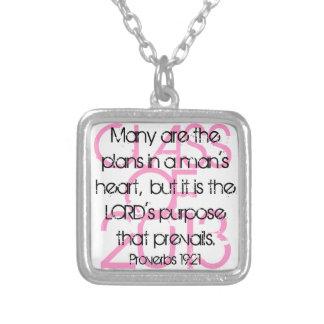 Graduate encouragement bible verse Proverbs 19:21 Square Pendant Necklace