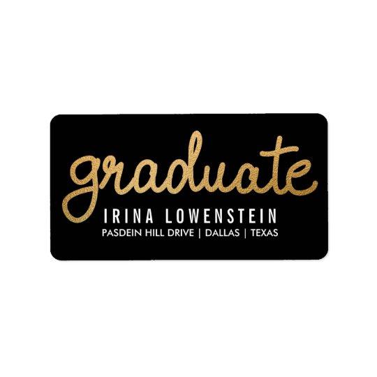 Graduate Faux Gold Foil Typography Black Label