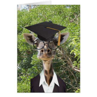 Graduate Giraffe Gold Tassel Greeting Card