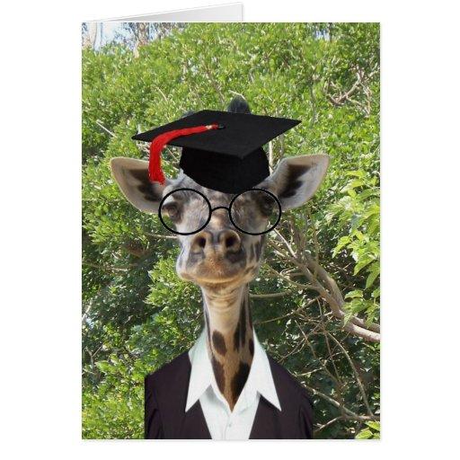 Graduate Giraffe Red Tassel Greeting Card