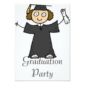 Graduate Girl Cute Black 13 Cm X 18 Cm Invitation Card