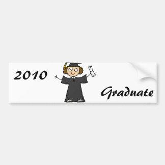 Graduate Girl Cute Black Car Bumper Sticker