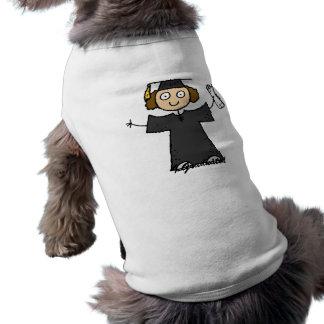 Graduate Girl Cute Black Doggie Tee Shirt