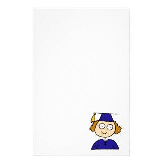 Graduate Girl Cute Blue Stationery Paper