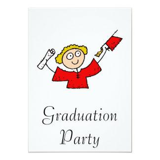 Graduate Girl Cute Red 13 Cm X 18 Cm Invitation Card