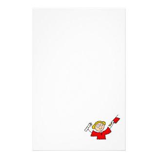 Graduate Girl Cute Red Stationery Paper