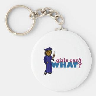 Graduate Girl in Blue Gown Key Chain