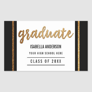 Graduate | Gold Glitter Script & Border on Black Rectangular Sticker