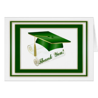 Graduate Green Thank You Cards